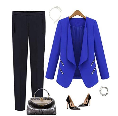 Cerniera Casual Tailleur Solidi Lunga Giovane Business Di Qualit Cardigan Anaisy Donna Bavero Autunno Manica Colori Con Alta Coat O8YBqxY