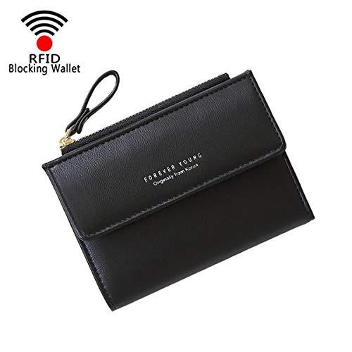 Womens Black Wallet (Women Small Wallet Lady Mini Purse Bifold Leather Short Wallet RFID Blocking with ID Window (B-Black))