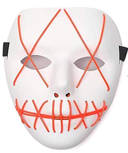 Funny Movie Costume (Tagital Halloween Mask LED Light Up Funny Masks The Purge Movie Scary Festival Costume)