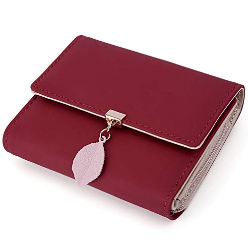 UTO Small Wallet for Women PU Leather Leaf Pendant Card Holder Organizer Zipper Coin Purse Red (Best Female Wallet Brand)