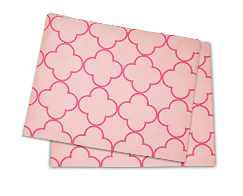 Bacati Pink Quadrofoil Printed Crib/Toddler Bed Fitted Sheets 100% Cotton Percale, 2-Pack