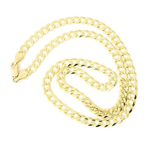 (Men's Solid 14k Yellow Gold Comfort Cuban Curb 5.7 Millimeters Chain Necklace, 22 Inches)