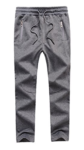 Lightweight Knit Activewear Zip (MEIKESEN Boy's Basic Sportswear Jogger Pants Drawstring Running Trousers With Zip Pockets Gray Size 14)
