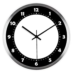 Ysayc Wall Clock Black and White abstract avant-Garde Creative Fashion Wall Clock Modern Minimalist Living Room Bedroom ultra-Mute Wall Clock , 14 inches , stainless steel wire drawing frame