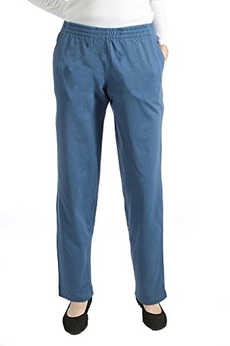 Pembrook Womens Jersey Knit Elastic Waist Pull On Pant -XL-Blue (Pants Knit Pull On)