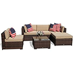PATIOROMA Outdoor Patio Sectional Furniture (6-Piece Set) All-Weather Brown Wicker Sectional with Beige Seat Cushions &Glass Coffee Table| Patio, Backyard, Pool|Steel Frame
