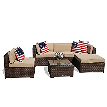 Super Patio Outdoor Conversation Sets, 6 Piece Outdoor PE Wicker Rattan Sectional Furniture Set with Beige Seat and Back Cushions, Steel Frame, Espresso Brown