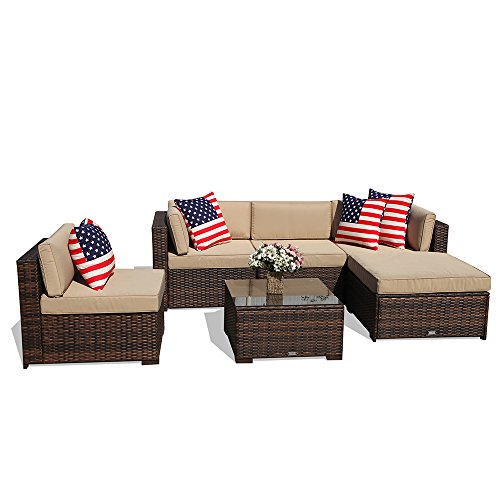 PATIOROMA Outdoor Patio Sectional Furniture (6-Piece Set) All-Weather Brown Wicker Sectional with Beige Seat Cushions &Glass Coffee Table| Patio, Backyard, Pool|Steel Frame For Sale