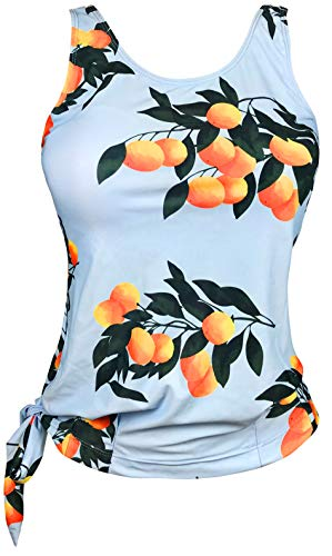 Gabrielle-Aug Women's Floral Stripe Blouson Tankini Top Swimsuit(FBA) (14, Blue Tangerine)