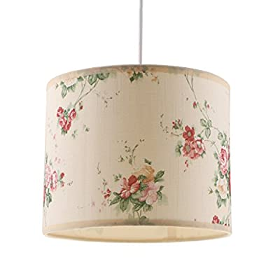 Dovewill Cylindrical E27 Home Floral Ceiling Pendant Light Shade Cover Chandelier Lampshade Fabric