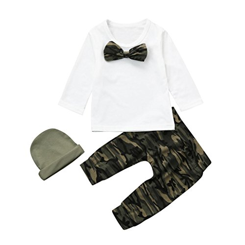 (Raptop 3PCS Newborn Baby Girls Clothes Rompers+Camouflage Bow Tops Pants + Butterfly Headband+Hat Outfits Set (6-12 Months, White))