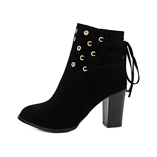 AllhqFashion Womens Solid High Heels Round Closed Toe Imitated Suede Lace-Up Boots Black tay43yJ
