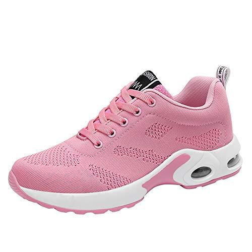 Cinnamou Zapatillas Deportivas de Mujer Running Trail Gimnasia Sneakers de Tacón Comodos Zapatos de Trabajo de Cuñas Vverano Rosa