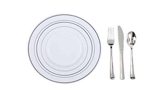 Plastic Plates Disposable-Silverware Combo | Elegant Silver Rimmed Dishes and Plastic SIlver Cutlery Dinner Service | Service for 24 (129-piece Bulk Set) WHITE / SILVER