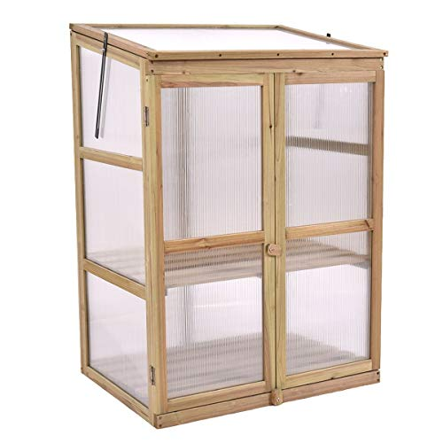 Garden Portable Wooden Raised Plants Greenhouse 2 Doors Double Lock Cold Frame Shelves Protection (Double Greenhouse Door)