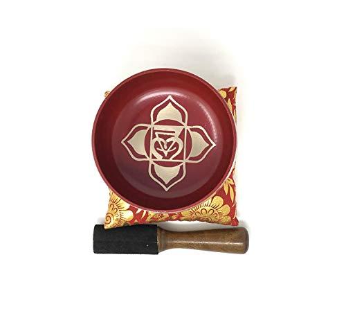 Vrinda Yoga Meditation Root Chakra (Muladhara) Red Singing Bowl/Silk Cushion/Mallet Set