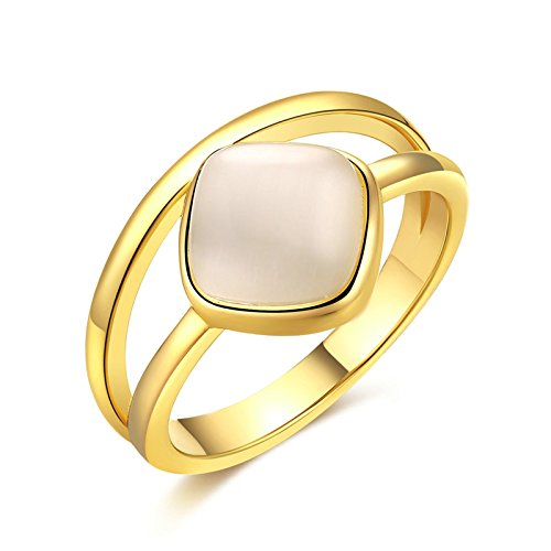 Plated Wedding Bands for Women Square Gem Engagement Promise Ring Band White Size 7 (22k Gold Wedding Band)