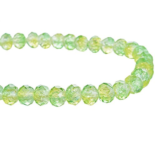(Souarts Green Color Oval Faceted Glass Crackle Beads Strand for Jewelry Making)