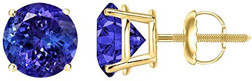1/2 0.5 Carat Total Weight Tanzanite Solitaire Stud Earrings Pair 18K Yellow Gold Popular Premium Collection Screw Back