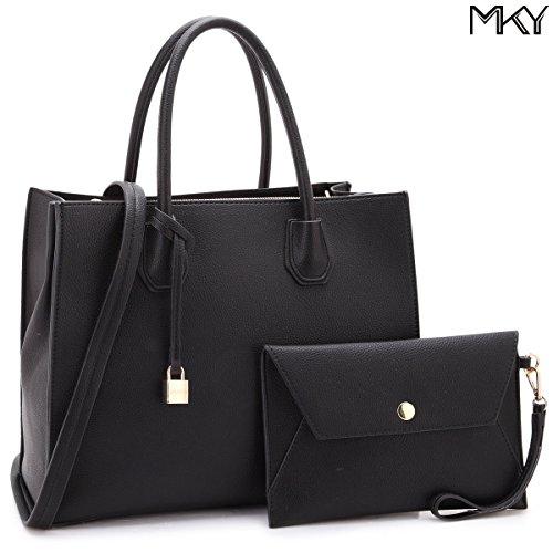 Women Handbag 2 Pieces Set Leather Shoulder Bag Satchel Purse 2 in 1 Simple Design Black