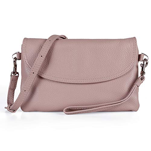 Clutch Blush - Befen Full Grain Leather Wristlet Clutch Wallet Phone Crossbody Wallet Purse with Detachable Shoulder Strap (Blush Pink)