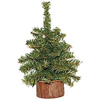 box of 4 8 mini artificial pine trees with real wood base - Real Mini Christmas Tree
