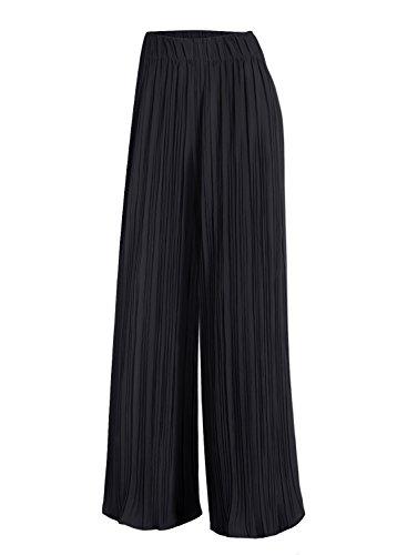 Vest Wide Leg Pants - Arolina Women's Elastic Waist Pleated Wide Leg Palazzo Pants (Small, Black)