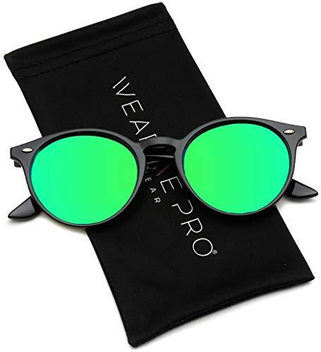 WearMe Pro Classic Small Round Retro Sunglasses, Black Frame / Mirror ()