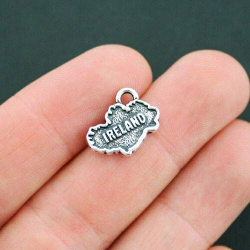 4 Ireland Map Charms Antique Silver Tone 2 Sided - SC2655]()