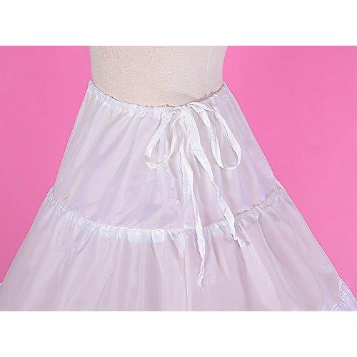 GuaGuaEgg Girls 3-Hoop Crinoline Petticoat Slip Underskirt Free Size White