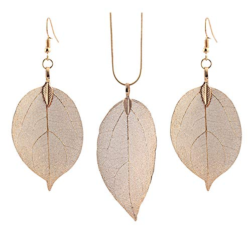 Vi.yo Women Princess Pendant Necklace Earrings Set Elegant Leaf Specimen Women Jewellery for New Year Christmas Valentines Gift