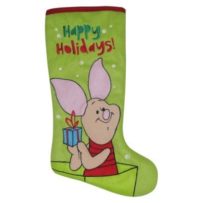 disney piglet christmas stocking light green with red trim