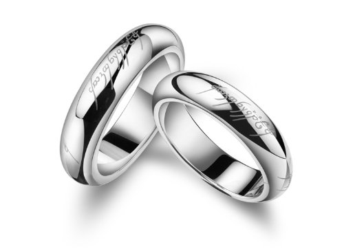 18K White Gold Plated Lord of the Rings Couple Band Ring Men