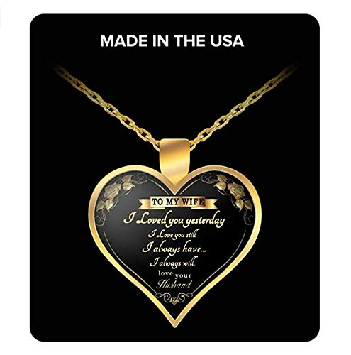 To My Wife Gold Necklace Heart Perfect Gift For Wife Love Your Husband