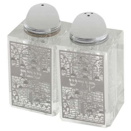 (Crystal Salt and Pepper Shakers with Laser Cut Metal Plaque for Shabbat, Jerusalem)