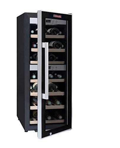 La Sommelière ECS40.2Z Weinkühlschrank / 102,0 cm Höhe / Zweizonen Weintemperierschrank mit Kompressor / Digital-Anzeige der Temperatur / edelstahl und schwarz