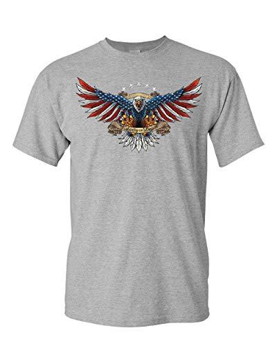 Liberty or Death American Bald Eagle T-Shirt Patriot USA Freedom Mens Tee Shirt Sport Gray L ()
