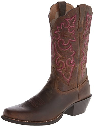 Ariat Women's Round Up Square Toe Western Cowboy Boot, Powder Brown/Brown, 8 W US ()