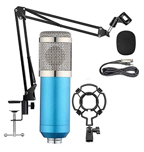 Cabriza K54 Professional Studio Mic Set with Sensitive BM-800 Condenser Microphone, Adjustable Suspension Arm Stand, Shock Mount, Pop Filter, Audio Splitter for Recording and Broadcasting (Multi)
