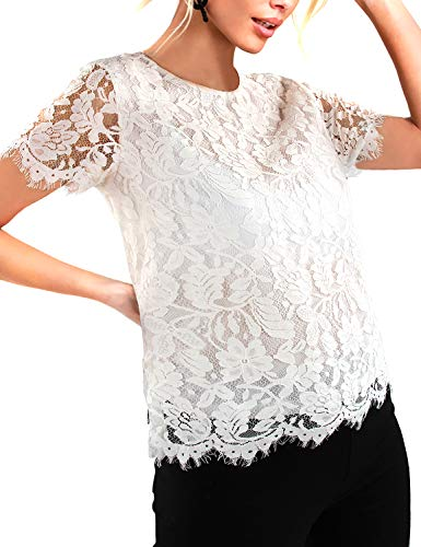 (Blooming Jelly Womens Lace Top O Neck Short Sleeve White Shirts Elegant Keyhole Blouse (x-Large, White))