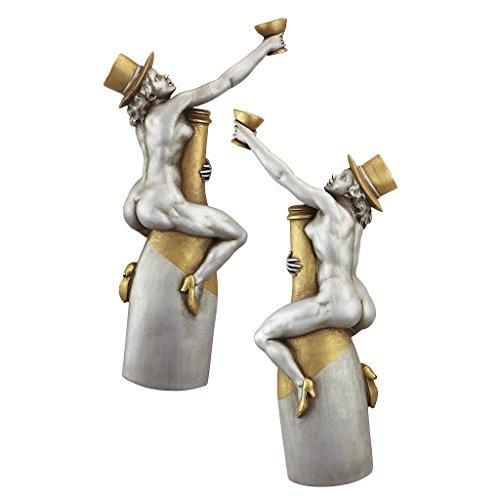 Design Toscano Champagne Cuddle Cuties Speakeasy Bar Wall Sculptures, Pewter -