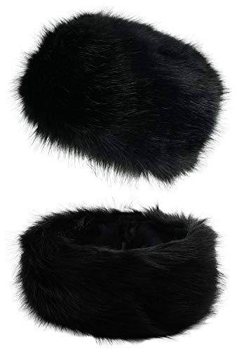 Lovful Faux Fur Women Russian Cossak Hat,Scarf Set for Ladies Winter,Hat Set_Black