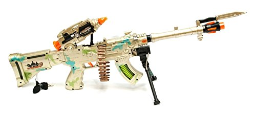 Rapid Fire Machine Gun (LilPals 27 Inch Rapid Fire Burning Spin 3 Toy Rifle – Machine Gun With Dazzling Electric Light, Amazing Electronic Sound & Unique Action)