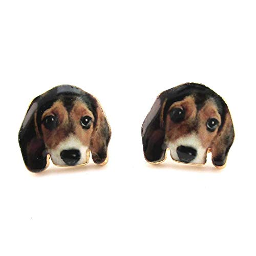 Daisies Beagle Puppy Face Portrait Shaped Stud Earrings Animal Jewelry for Dog Lovers ()