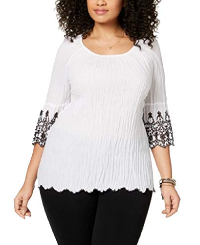 Style&Co Plus Size Cotton Eyelet-Trim Top (Bright White, ()