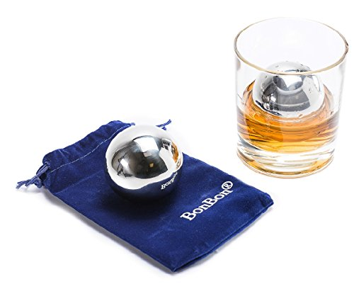 BonBon Large 5.5 cm pair of Whiskey Balls-Reusable Metal Stainless Steel,Scotch,Vodka,Wine Ice Chiller Rocks Gift Set. Chilling Stones Cubes Won't Dilute Your Favorite Drink by BonBon
