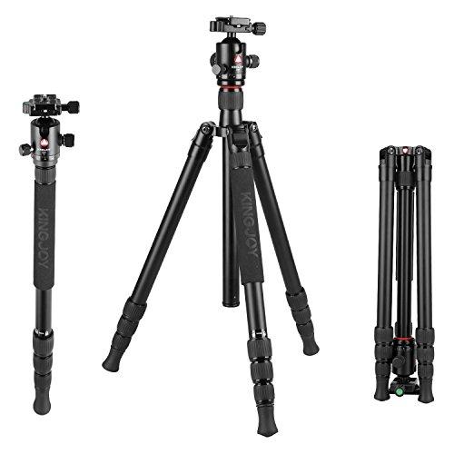 Aluminum Camera Tripod,Kingjue K2008+Q20 4-Section Adjustable Video Tripod with Ball Head for Canon Nikon Sony DSLR Camera Camcorder by Kingjue