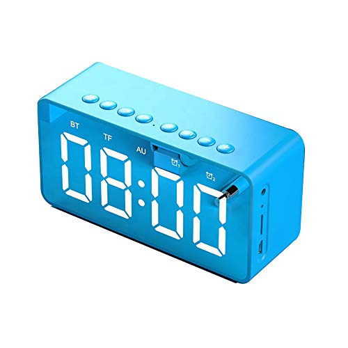 Yourely Alarm Clock Bluetootooth Speaker with Mirror,Portable Wireless Bluetooth 5.0 Speakers with HiFi Stereo,MP3 Music Player,7H Playtime,1500mah,Support TF Card,3