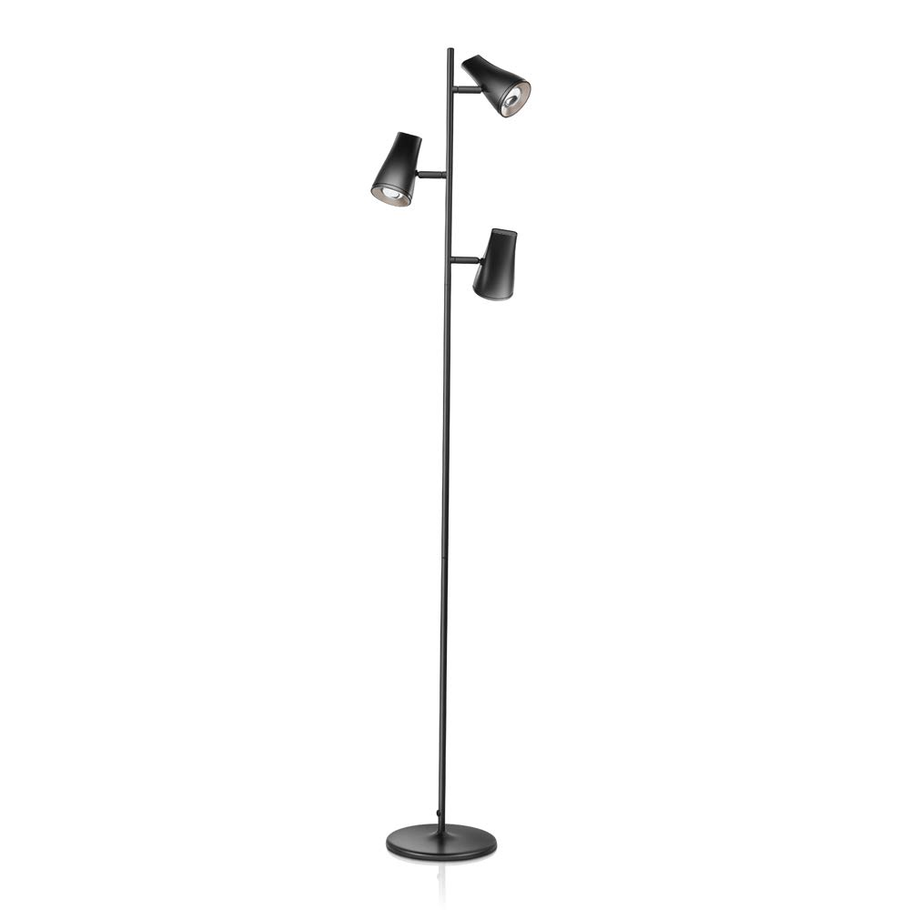 LED Tree Shape Floor Lamp with 3 Lamp Heads, Adjustable Tall Standing Lamp with Ultralthin Metal Base, Multi-Direction Reading Lamp for Living Room/Office/Study Room/Piano Room, Black