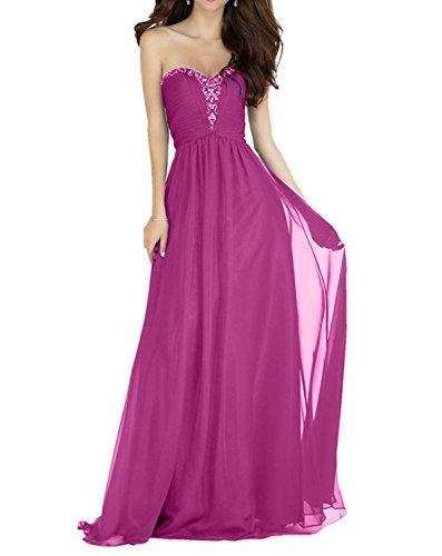 Abendkleider Linie Partykleider Chiffon Charmant Traegerlos A Ballkleider Perlen Pink Rock Rot Lang Festlich Elegant Damen FwqY7a
